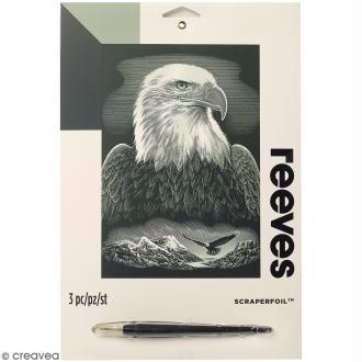 Carte à gratter Junior Reeves Argentée Aigle royal - 26 x 21 cm