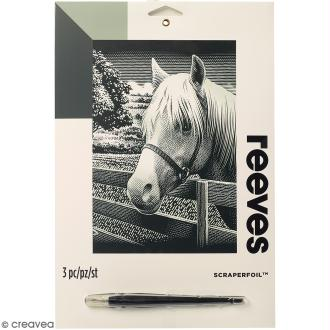 Carte à gratter Junior Reeves Argentée Poney - 26 x 21 cm