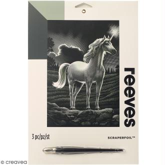Carte à gratter Junior Reeves Argentée Licorne - 26 x 21 cm