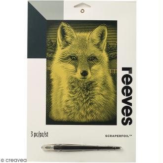 Carte à gratter Junior Reeves Dorée Renard - 26 x 21 cm