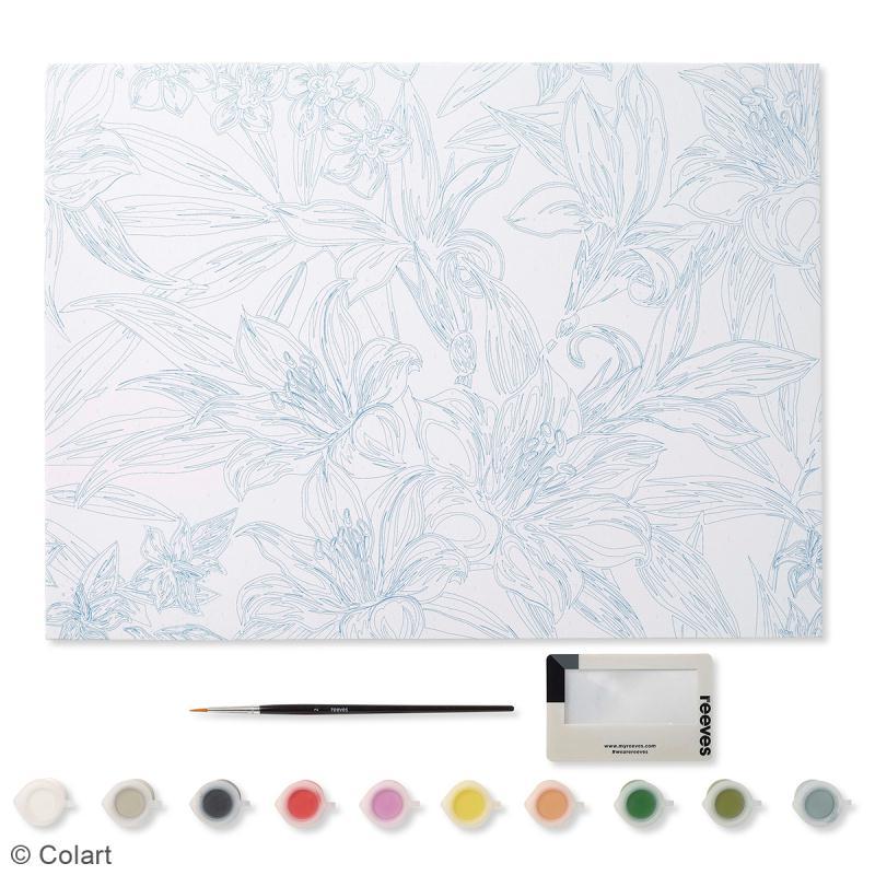 peinture au num ro adulte reeves fleurs tropicales 40 x 30 cm 13 pcs peinture au num ro. Black Bedroom Furniture Sets. Home Design Ideas