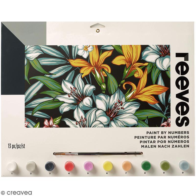 peinture au num ro adulte reeves fleurs tropicales 40 x 30 cm 13 pcs peinture num ro. Black Bedroom Furniture Sets. Home Design Ideas