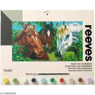 Peinture au numéro Adulte Reeves - 3 chevaux - 40 x 30 cm - 12 pcs