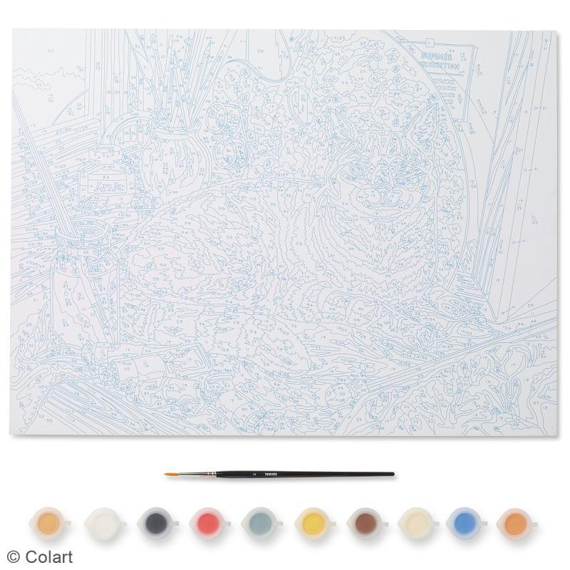 peinture au num ro adulte reeves chat d 39 artiste 40 x 30 cm 12 pcs kit peinture creavea. Black Bedroom Furniture Sets. Home Design Ideas