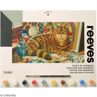 Peinture au numéro Adulte Reeves - Chat d'artiste - 40 x 30 cm - 12 pcs