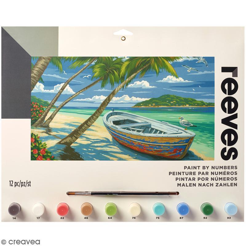 peinture au num ro adulte reeves plage paradisiaque 40 x 30 cm 12 pcs kit peinture creavea. Black Bedroom Furniture Sets. Home Design Ideas
