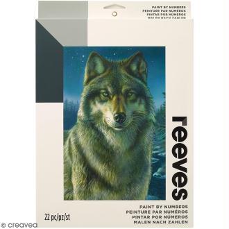 Peinture au numéro Adulte Reeves - Loup - 23 x 30,5 cm - 22 pcs