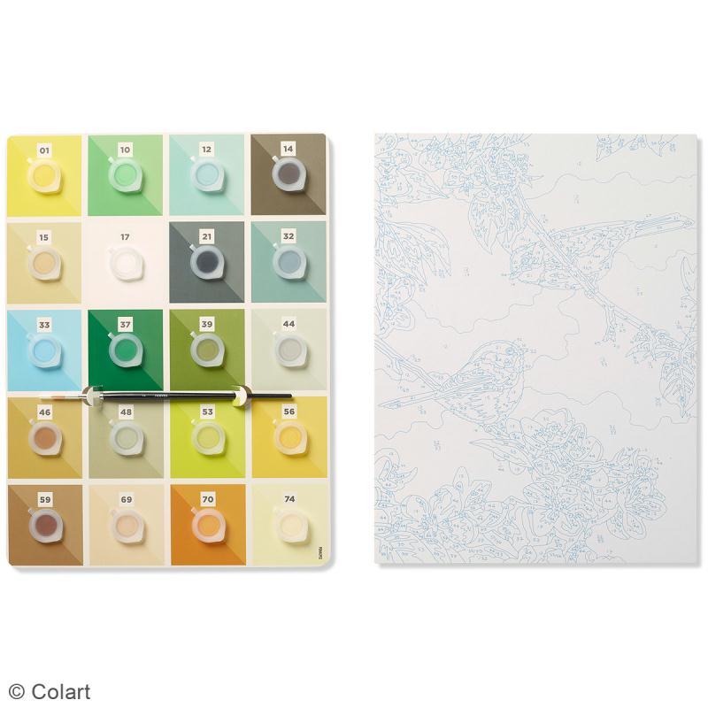 peinture au num ro adulte reeves moineaux 23 x 30 5 cm 22 pcs kit peinture creavea. Black Bedroom Furniture Sets. Home Design Ideas