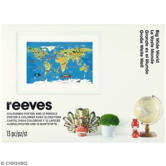 Set poster à colorier - 115 x 80 cm - Carte du monde -13 pcs