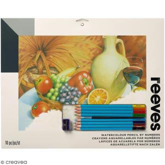 Aquarelle au numéro Reeves - Coupe de fruits et vin rouge - 40 x 29,5 cm