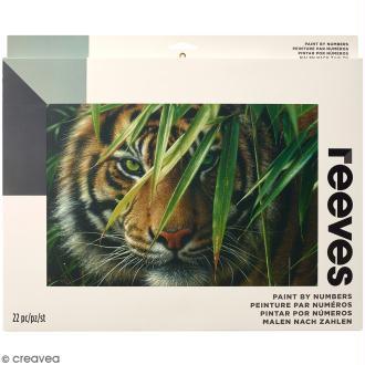 Grande Peinture au numéro Adulte Reeves - Tigre - 40,5 x 30,5 cm - 22 pcs