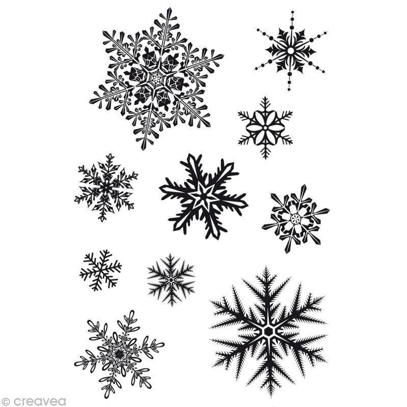 Tampon crystal toga flocons x 10 tampon transparent creavea - Dessin etoile des neiges ...
