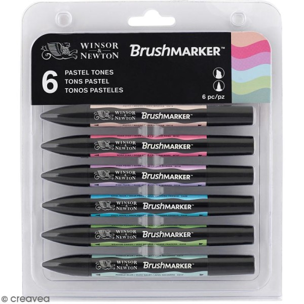 Feutres à alcool BrushMarker - Tons Pastel - 6 pcs - Photo n°1