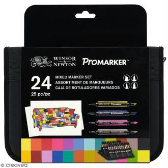 Pochette Feutres à alcool BrushMarker / ProMarker - Assortiment de couleurs - 25 pcs