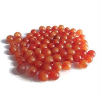 20 Perles Jade Naturelles Orange Foncé 4mm