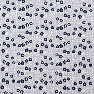Coupon de tissu Toile coton Made by me - Feuilles grises et fleurs bleues - Fond blanc - 50 x 140 cm