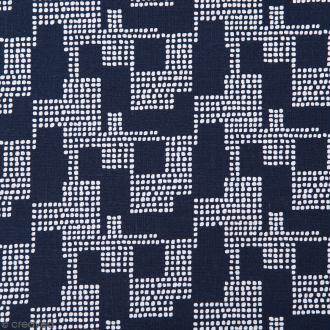 Coupon de tissu Toile coton Made by me - Points blancs géométriques - Fond bleu marine - 50 x 140 cm