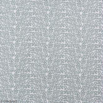 Coupon de tissu Toile coton Made by me - Fleurs gris vert - Fond blanc - 50 x 140 cm