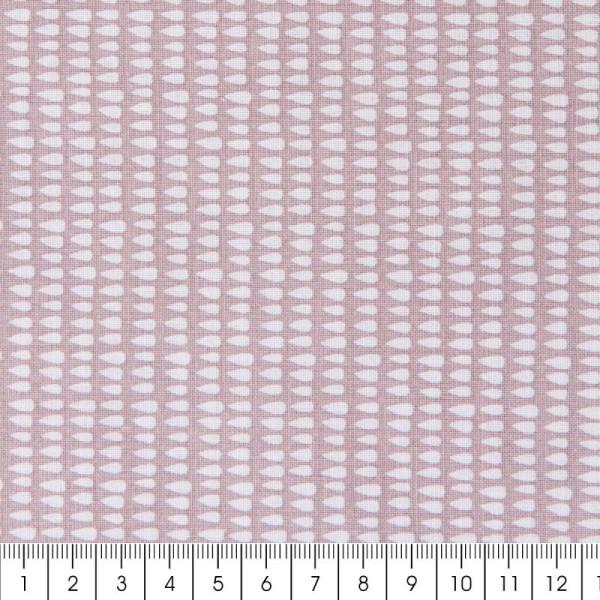 Coupon de tissu Toile coton Made by me - Gouttes blanches - Fond rose pâle - 50 x 140 cm - Photo n°2
