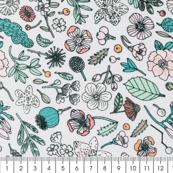 Coupon de tissu Toile coton Made by me - Fleurs - lilas - 50 x 140 cm - Photo n°2