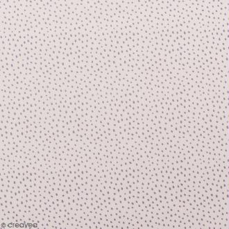 Coupon de tissu Toile coton Made by me - Points violet métallisés - Fond rose pâle - 50 x 140 cm