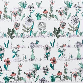 Coupon de tissu Toile coton Made by me - Plantes et fleurs - Fond blanc - 50 x 140 cm