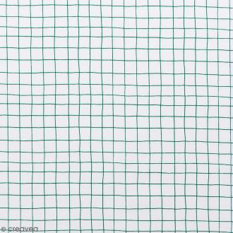 Coupon de tissu Toile coton Made by me - Carreaux verts - Fond blanc - 50 x 140 cm