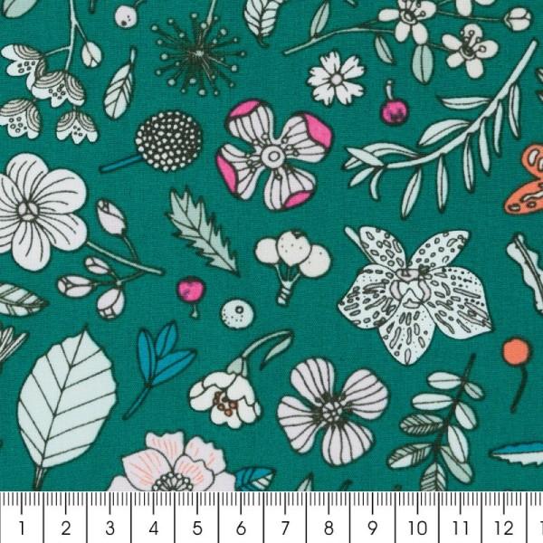 Coupon de tissu Toile coton Made by me - Fleurs détails fluo - Fond vert - 50 x 140 cm - Photo n°2