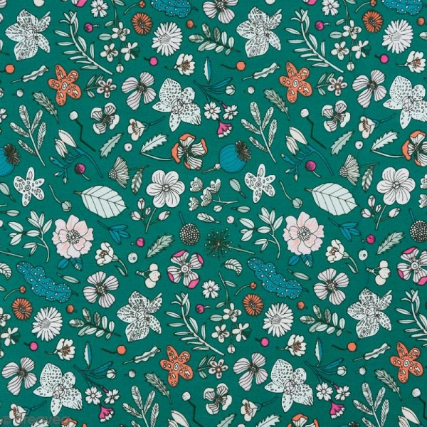 Coupon de tissu Toile coton Made by me - Fleurs détails fluo - Fond vert - 50 x 140 cm - Photo n°1