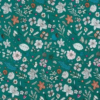 Coupon de tissu Toile coton Made by me - Fleurs détails fluo - Fond vert - 50 x 140 cm