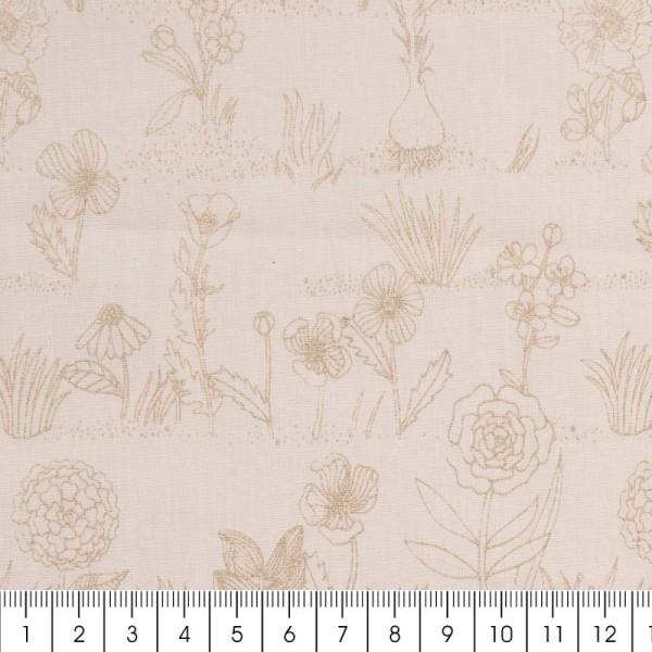 Coupon de tissu Toile coton Made by me - Fleurs métallisées - Fond rose poudré - 50 x 140 cm - Photo n°2