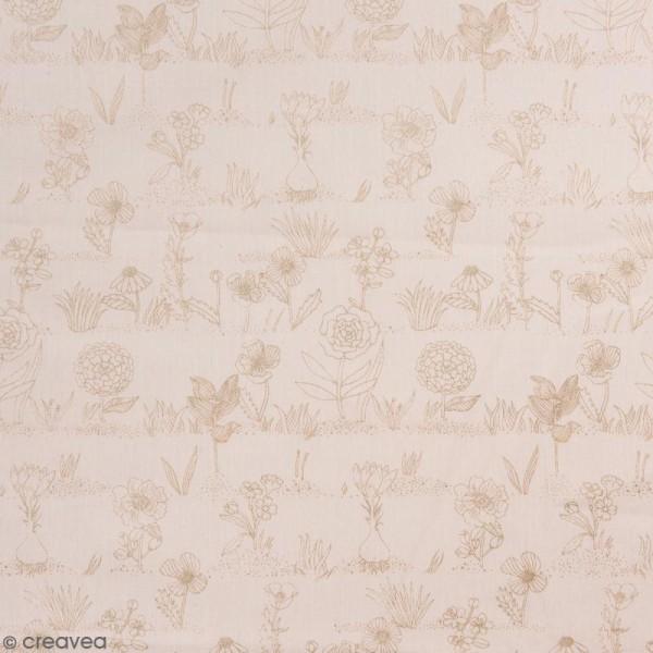 Coupon de tissu Toile coton Made by me - Fleurs métallisées - Fond rose poudré - 50 x 140 cm - Photo n°1