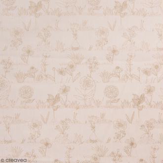 Coupon de tissu Toile coton Made by me - Fleurs métallisées - Fond rose poudré - 50 x 140 cm