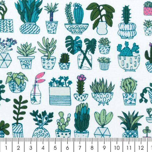 Coupon de tissu Toile coton Made by me - Cactus détail fluo - Fond blanc - 50 x 140 cm - Photo n°2