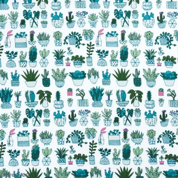 Coupon de tissu Toile coton Made by me - Cactus détail fluo - Fond blanc - 50 x 140 cm - Photo n°1
