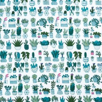 Coupon de tissu Toile coton Made by me - Cactus détail fluo - Fond blanc - 50 x 140 cm