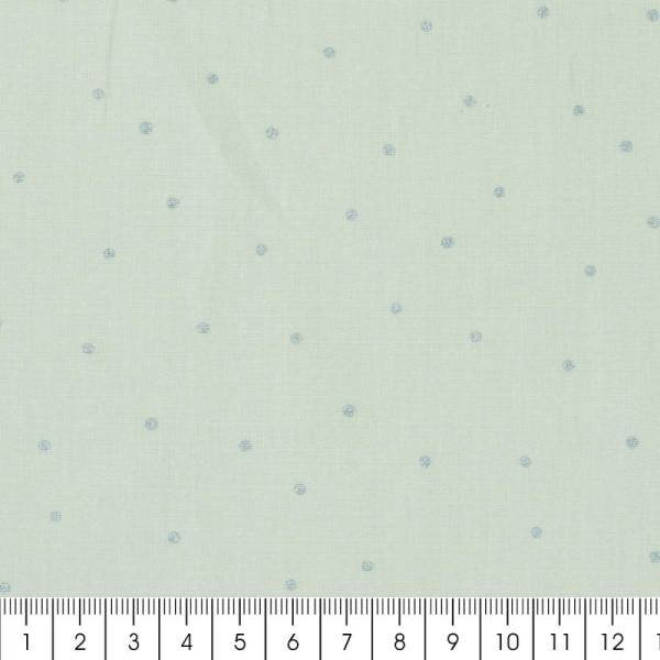 Coupon de tissu Toile coton Made by me - Pois bleus métallisés - Fond menthe - 50 x 140 cm - Photo n°2