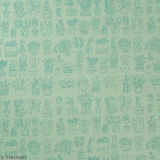 Coupon de tissu Toile coton Made by me - Cactus métallisés - Fond menthe - 50 x 140 cm