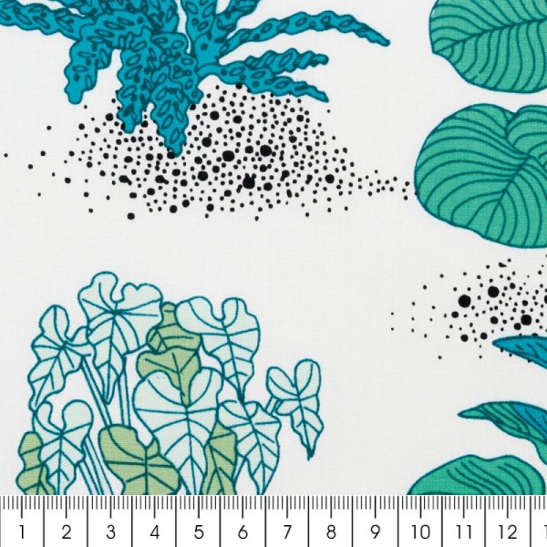 Coupon de tissu Toile coton Made by me - Plantes vertes - Fond blanc - 50 x 140 cm - Photo n°2
