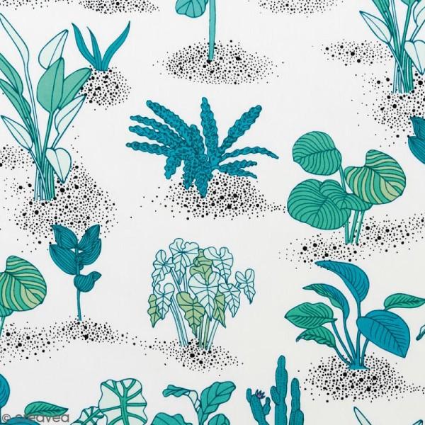 Coupon de tissu Toile coton Made by me - Plantes vertes - Fond blanc - 50 x 140 cm - Photo n°1