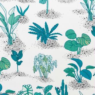 Coupon de tissu Toile coton Made by me - Plantes vertes - Fond blanc - 50 x 140 cm