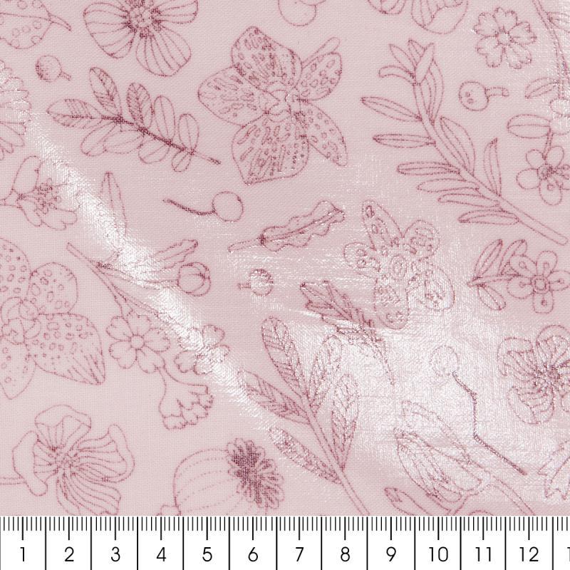 Coupon de tissu Toile cirée Made by me - Fleurs métallisées - Fond rose - 25 x 70 cm - Photo n°2
