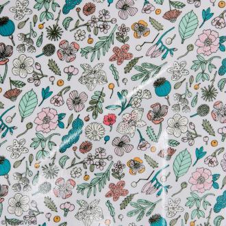 Coupon de tissu Toile cirée Made by me - Fleurs - Fond  lilas - 25 x 70 cm
