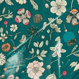 Coupon de tissu Toile cirée Made by me - Fleurs détails fluo - Fond vert - 25 x 70 cm