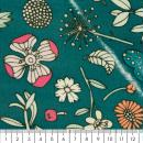 Coupon de tissu Toile cirée Made by me - Fleurs détails fluo - Fond vert - 25 x 70 cm - Photo n°2