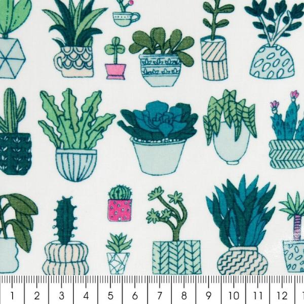 Coupon de tissu Toile cirée Made by me - Cactus détail fluo - Fond blanc - 25 x 70 cm - Photo n°2