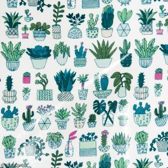 Coupon de tissu Toile cirée Made by me - Cactus détail fluo - Fond blanc - 25 x 70 cm