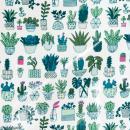Coupon de tissu Toile cirée Made by me - Cactus détail fluo - Fond blanc - 25 x 70 cm - Photo n°1