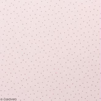 Coupon de tissu Toile jersey Made by me - Pois roses métallisés - Fond rose - 70 x 100 cm