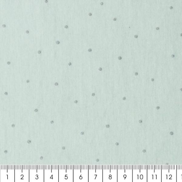 Coupon de tissu Toile jersey Made by me - Pois bleus métallisés - Fond menthe - 70 x 100 cm - Photo n°2